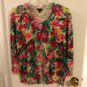 Talbots Button Down Floral Cardigan Sweater